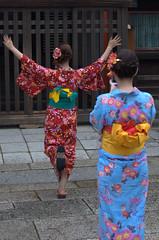 Girls in kimono posing