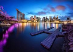 Tropical Heights (Kai Jie –) Tags: river bay marina panorama blue sunset helix skyline singapore