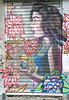 La Dame aux gerberas (Pensive glance) Tags: graffiti image painting wall «street art» «ärt de la rue»