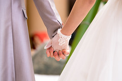 Bride and groom holding hands in wedding (Apricot Cafe) Tags: img14131 20s asianethnicity canonef70200mmf28lisiiusm chiba japan japaneseethnicity narita beauty body bodypart bride ceremony cerenity charming cheerful closeup communication couple dress enjoying formal groom hands happiness holdinghands horizontal hotel indoors man party portrait togetherness twopeople wedding weddingdress woman youngadult naritashi chibaken jp