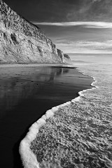 san diego : torrey pines state park reserve (William Dunigan) Tags: san diego southern california torrey pines state park reserve beach ocean sea seascape shoreline coast cliff black white onochrome