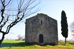 The chapel (angelsgermain) Tags: chapel church cypress tree grass sky sunlight winter stone middleages santacristina corçà baixempordà catalonia catalunya