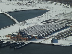 Aerial View, Snow View, Central Railroad of New Jersey Terminal, Liberty State Park, One World Observatory, World Trade Center Observation Deck, New York City (lensepix) Tags: aerialview snowview oneworldobservatory worldtradecenterobservationdeck observationdeck newyorkcity snow winter libertystatepark newjersey