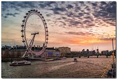 London Eye (Lazaros E) Tags: lights nikon london river water londoneye sky boat d5200 sunset uk clouds