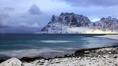 the shine of a Northern Sea (lunaryuna) Tags: norway northernnorway lofoten lofotenislands lofotenarchipelago haukland beach landscape seascape mountains seashore shoreline sky clouds cloudscape snow ice lightmood weather winter season seasonalwonders panoramicviews lunaryuna