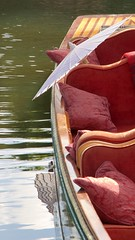 Gondola (Dale Gillard) Tags: red lake water umbrella boat seat melbourne victoria parasol gondola cushion royalbotanicgardens wagasa photoh focusontheforeground