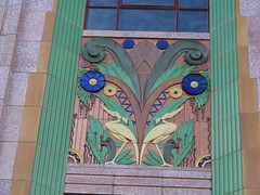Goulburn. City of wonderful old buildings.Art Deco inGoulburn with ceramic colourful tiles. Elmsea Chambers for local solicitors. Architect was L P Burns. Built in 1936 in Egyptian style. (denisbin) Tags: architecture cranes egyptian artdeco chambers goulburn elmslea egyptianstyle