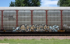 Enron (quiet-silence) Tags: railroad art train graffiti ns railcar graff freight enron norfolksouthern autorack fr8 ttgx993347