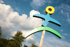 Bird Man (peterkelly) Tags: blue sky ontario canada sign clouds digital logo island guelph northamerica hillside 2015 hillsidefestival guelphlakeconservationarea