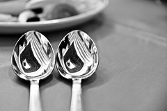 Paired (Sanjiban2011) Tags: blackandwhite stilllife abstract reflection nikon pair objects indoor d750 tamron tabletop spoons tamron2470