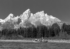 Fishermen with background (E.K.111) Tags: grandteton river park nature nationalpark candid peopleallovertheworld people mountain outdoors outside blackwhite