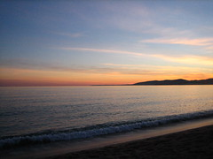 early sunset (Ladybadtiming) Tags: sea sunset frenchriviera colours gold sky mediterranea hills fréjus var france seaside shore