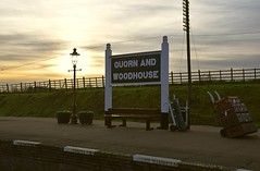 A milky Sunset scene at Quorn & Woodhouse Station, Great Central Railway. 27 12 2016 (pnb511) Tags: greatcentralrailway trains railway steam heritage gaslamp lamp psot station sign board suitcases trolley vintage