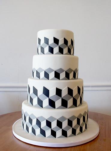 Optical Illusion Cubes Wedding Cake