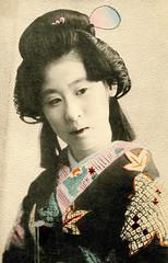 Wako of Nagoya 1905 (Blue Ruin 1) Tags: geigi geiko geisha genrokustyle kosode japanese japan meijiperiod 1905 handcolouredpostcard nagoya wako
