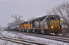 """Westbound Transfer in Kansas City, MO (""""Righteous"""" Grant G.) Tags: kcs kansas city southern lines up union pacific railroad railway locomotive train trains west westbound transfer freight emd engine snow"""