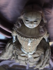 YUELIANG_slit-head wax doll_1820 (leaf whispers) Tags: wax doll antique creepy scary bizarre weird obsolete toy cracked crazing human hair real victorian 19th century 1800 old girl woman female entropy distressed madalice montanari papiermache papermache haunted spirit ghost witch lady slit slithead auction forsale head edwardian georgian death mementomori decay grief loss horror sinister haunting devil evil chiaroscuro shadow shadows mourning moon moonlight melancholia melancholy motherofpearl mop papier mache fashion queen ann anne pink red