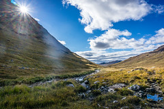 Mountain scene in Knoydart, highlands of Scotland (hutchison.fraser) Tags: highlands a6000 sony stream valley sun mountain knoydart scotland 2016