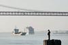 Pescador (MickPt) Tags: portugal almada barcos boats navios ships bridges pontes structures estruturas river rio lumix tz10