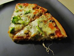 Brocollini Blue Cheese Pizza (Robert C. Abraham) Tags: food cheese pizza dinner meal cheesey crust bluecheese mozzarella mushrooms garlic baked slice tomatosauce