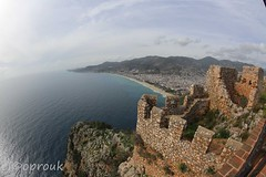 Fish-eye view landscape (elcoprouk) Tags: ruins architecture cyprus turkey sea water fisheye wide angle outdoor