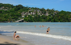 Tourists enjoying on the Patong beach (phuong.sg@gmail.com) Tags: aquamarine asia attraction beach beautiful blue busy calm destination enjoy exotic fun heat holiday horizon island landscapes leisure ocean outdoor patong phuket population relaxation sand sea seaside shore sky speed summer sunbath sunbathing sunny surf swimmer thailand touristic travel tropical umbrella vacation view warm water wave