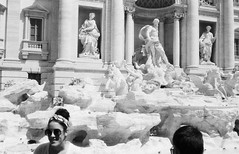 Trevi Fountain (Jim Davies) Tags: bw blackandwhite monochrome konica c35 rangefinder fomapan action 400asa ishootfilm veebotique 35mm film filmfilmforever analogue blackwhite summertime rome italy europe travels city trevifountain