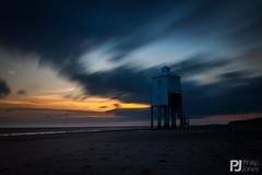 Sunset at Burnham Lighthouse (philrdjones) Tags: longexposure sunset sea cloud lighthouse beach movement sand tide may burnhamonsea 2015