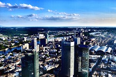 Spot the airport! (Melvin Yue) Tags: city urban building weather buildings germany deutschland airport cityscape hessen frankfurt main german fujifilm cbd hdr highdynamicrange frankfurtammain birdseye maintower x100 x100s x100t