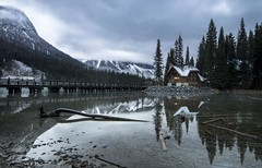 Emerald Lake Autumn (corybeatty) Tags: rocky mountains rockies mountain lake reflection water colour light sun field yoho national park emerald lodge snow winter