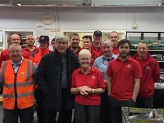 At the Royal Mail Dunbar delivery office to thank postal staff for their hard work at Christmas