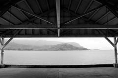 Copy of Kauai b&w43-2 (chiarina2016) Tags: kauai hawaii island beach monotone blackandwhite chiarinaloggia stormyseas waves trails hiking surf hanalei hanaleibeach sea ocean hanaleipier pier