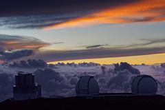 The giants (marko.erman) Tags: hawaii big island usa united states sony archipel mauna kea observatory summit top peak mountain science giants telescope twin subaru sky skyscape panorama pov sunset clouds horizon outside