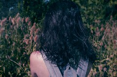 (juliayeger) Tags: girl field nature outside grass flowers yellow old vintage analog black hair bag grey skin woman green naturaleza chica looking alone day sun midday shoulders skinny solitude campo silvestre flores pasto peace paz
