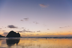 Exposure Bracketing (ChristopherTMChen) Tags: hdr beach sunset newzealand piha views sky blue orange