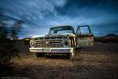 Abducted (dejavue.us) Tags: lightpainting longexposure mojavedesert nightphotography nikon 180350mmf3545 d800 vle truck pickup fullmoon windy nikkor abandoned california clouds