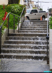 RainDanceStairs (mcshots) Tags: usa california socal losangelescounty southbay strand manhattanbeach rain weather waterfall downpour raining steps flooding winter january2017 stock mcshots