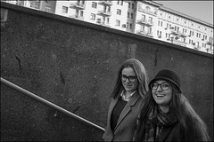 DR151107_0817D (dmitry_ryzhkov) Tags: underground crosswalk smile glasses smiles two girlfriend friend friends step steps stair stairway conversation converse day motion movement walk walker walkers pedestrian pedestrians sidewalk woman women lady sony alpha black blackandwhite bw monochrome white bnw blacknwhite art city europe russia moscow documentary journalism street streets urban candid life streetlife citylife outdoor outdoors streetscene close scene streetshot image streetphotography candidphotography streetphoto candidphotos streetphotos moment light shadow people citizen resident inhabitant person portrait streetportrait candidportrait unposed public