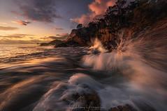 Suspense (hillsee) Tags: sunrise seascape tasmania freycinetnationalpark water wave splash light colour cliffs exposure extreme dangerous australia motion rocks clouds nature nikon d810