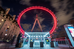 Spinning Wheel (James_Beard) Tags: millenniumwheel londoneye southbank countyhall longexposure bluehour wideangle london tourists fujixt2 fuji1024mm