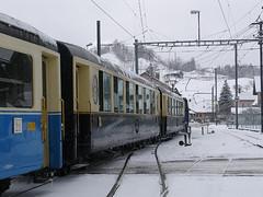 RD359.  Montbovon. (Ron Fisher) Tags: montreuxoberlandbernois mob snow winter montbovon switzerland suisse schmalspurbahn metregauge narrowgauge schweiz voieetroite transport publictransport rail railway ch
