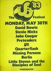 US FESTIVAL 1983 (Superbawestside1980) Tags: music david berlin wall u2 bowie festivals clash 1983 voodoo oingo inxs pretenders the boingo of