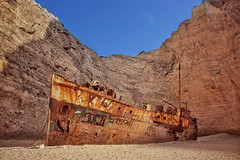 Lost in Time (u c c r o w) Tags: moon beach greece shipwreck zakynthos ioniansea smugglerscove uccrow