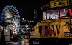 The Echo Wheel of Liverpool and American Diner Bus on Grower Street (TehJazzi Photography) Tags: liverpool city centre photography long exposure colours albert dock salthouse liver building canon nikon d5500 100d wide angle 10mm 50mm 30mm prime american diner bus old school retro life ring christmas lights festival wheel echo arena reflections water quay boat port winter dark shows rides fun fair beatles story artistic photographer canvas prints