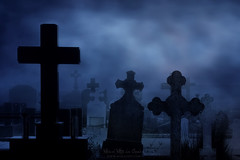 Noche de miedo (Mimadeo) Tags: cemetery night scary dark gothic horror creepy spooky graveyard grave tombstone cross stone death dead tomb mystery scene funeral monochrome grunge fog gravestone mysterious halloween evil fear ghost moonlight haunted blue nightmare terror old