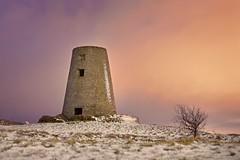 Cleadon Mill, Snow at Sunrise (Breeze of the Dene) Tags: cleadon mill windmill nikon df 50mm f18 g snow ice frost winter sunrise sky clouds colour purple orange tree