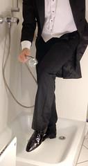 white-tie-shower-1_10300248066_o (shinydressshoes) Tags: tails tailcoat tuxedo suit muddy gunge wet shiny shoes shinyshoes leather patent dressshoes groom wedding whitetie frack formal shower lackschuhe lackschuh