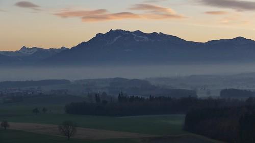 wonderful sunset at Mount Pilatus Switzerland