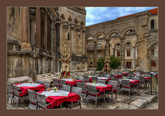 Diocletian's Palace (Kevin, from Manchester) Tags: architecture building canon1855mm croatia cruiseship dalmatiancoast hdr harbour historical kevinwalker photoborder sea sky split