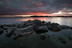 Clustered rocks - Mörudden (- David Olsson -) Tags: mörudden värmland hammarö skoghall sweden lake vänern rocks stones water lakescape seascape landscape nature outdoor sunset sundown clouds cloudy leefilters 06hard gnd grad nikon d800 1635 1635mm 1635vr vr fx davidolsson 2016 august sugusti